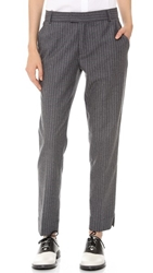 Band Of Outsiders Ankle Pants With Slits Grey White