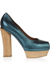 Marni Metallic Wooden Heel Leather Open Toe Pumps Blue