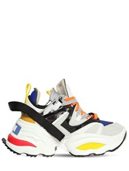 Dsquared 60Mm Giant Neoprene And Leather Sneakers White Blue