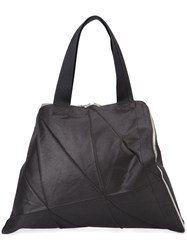 Issey Miyake Glossy Origami Structured Tote Black