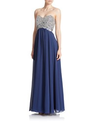 Decode 1.8 Embellished Strapless Gown Navy