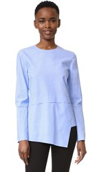 Cedric Charlier Poplin Long Sleeve Top Blue