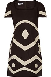 Moschino Cheap And Chic Appliqued Cotton Dress Brown