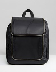 New Look Nylon Zip Detail Backpack Black