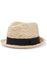 Iris And Ink Grosgrain Trimmed Straw Panama Hat Beige