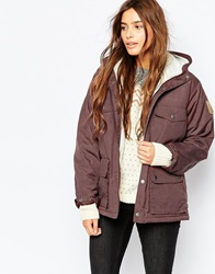 Fjall Raven Fjallraven Short Hooded Lightweight Jacket With Faux Shearling Lining Red