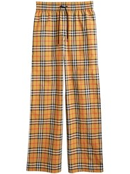 Burberry Vintage Check Drawcord Trousers Yellow And Orange