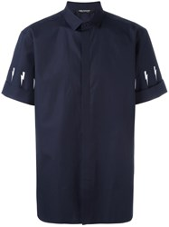 Neil Barrett Lightning Bolt Shirt Blue