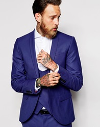 Noose And Monkey Suit Jacket With Shawl Lapel In Skinny Fit Deepblue