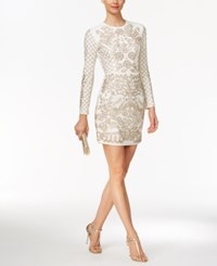Xscape Evenings Beaded Long Sleeve Bodycon Dress Ivory Antique