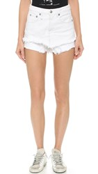 R 13 Double Layer Shorts Kola White