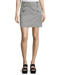 See By Chloe Button Front Mini Check Skirt Black White