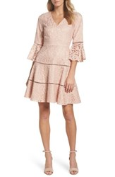 Eliza J Bell Sleeve Lace Fit And Flare Dress Blush