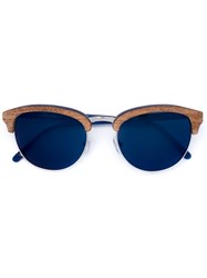 Linda Farrow Wood Round Shaped Sunglasses Blue