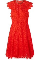 Lela Rose Corded Lace Dress Red