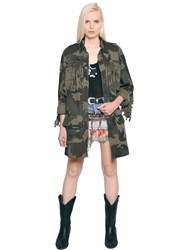 Faith Connexion Fringed Cotton Canvas Camouflage Jacket