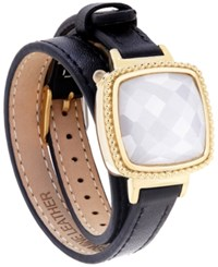 Macy's Ela Smart Jewelry Double Leather Wrap Bracelet In Quartz 13 1 5 Ct. T.W. And 14K Gold Plated Stainless Steel Black