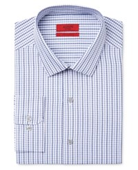 Alfani Men's Fitted Performance Blue Dobby Check Dress Shirt Only At Macy's