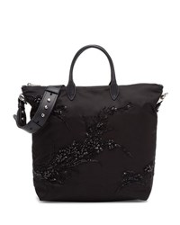 Prada Large Nylon Beaded Tote Bag Black Nero