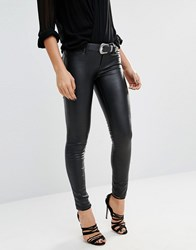 Blank Nyc Low Rise Ankle Grazer Coated Skinny Jeans Blacked Out