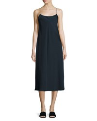 Vince Bias Cut Midi Slip Dress Blue