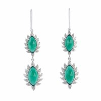 Meghna Jewels Double Drop Marquise Earring Green Chalcedony And Diamonds