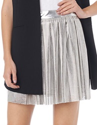 Sam Edelman Pleated Perforated Patent Leather Skirt Silver
