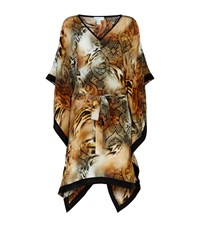 Elizabeth Hurley Beach Wild Tiger Printed Kaftan Female Multi