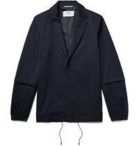 Oamc Slim Fit Cotton And Linen Blend Panelled Stretch Twill Jacket Midnight Blue