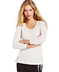 American Rag Juniors Top Three Quarter Sleeve Crochet Knit Thermal Beige