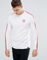 11 Degrees Long Sleeve T Shirt In White With Red Reflective Stripe White Black