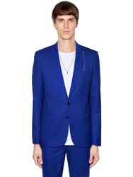 The Kooples Skull Chain Cool Wool Tuxedo Jacket Blue