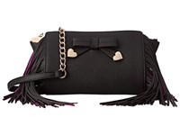 Betsey Johnson Fringe Party Crossbody Black Cross Body Handbags
