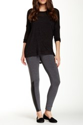Splendid Faux Leather Contrast Legging Gray