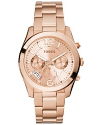 Fossil Women's Perfect Boyfriend Rose Gold Tone Stainless Steel Bracelet Watch 40Mm Es3885