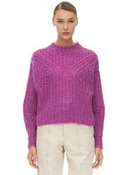 Isabel Marant Inko Mohair Blend Knit Sweater Fuchsia