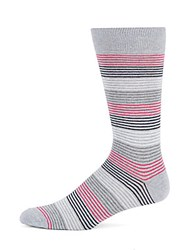Saks Fifth Avenue Made In Italy Mid Calf Striped Socks Pink