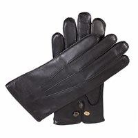 Dents Mens Leather Gloves With Wool Lining Black