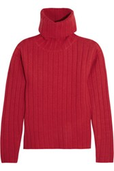 Dkny Ribbed Boiled Wool Turtleneck Sweater Red