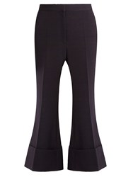 Stella Mccartney Mid Rise Kick Flare Wool Blend Trousers Navy