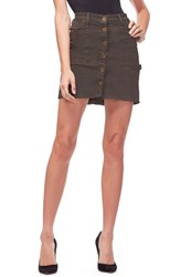 Good American Plus Size Front Button Miniskirt Olive001