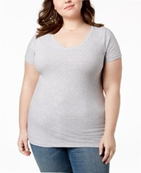 Planet Gold Trendy Plus Size Fitted V Neck T Shirt Shadow Grey