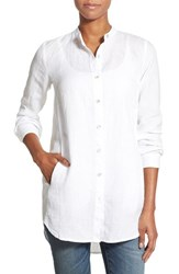 Women's Eileen Fisher Organic Linen Mandarin Collar Tunic White