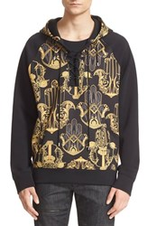 Men's Versace Collection Hamsa Print Lace Up Neoprene Hoodie