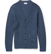 Faconnable Anchor Mercerised Cotton Cardigan Blue
