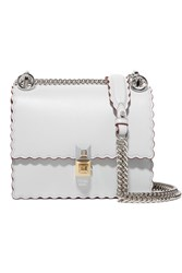Fendi Kan I Mini Scalloped Leather Shoulder Bag Light Gray Usd