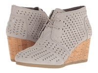Toms Desert Wedge Bootie Drizzle Grey Suede Perforated Leaf Women's Wedge Shoes Gray