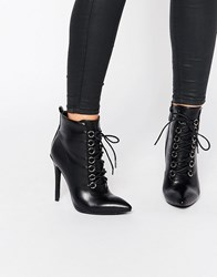 Public Desire Imogen Lace Up Heeled Ankle Boots Black Pu
