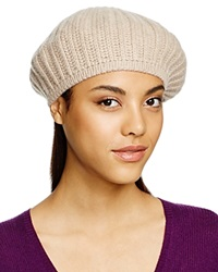 C By Bloomingdale's Cashmere Ribbed Beret Light Oatmeal