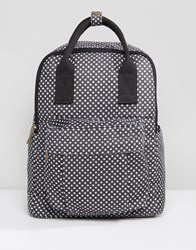 Qupid Star Print Backpack With Front Pocket Black White Star